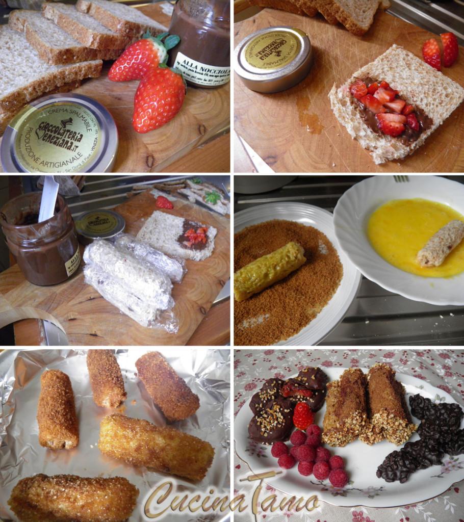 French toast roll ups con fragole e cannella