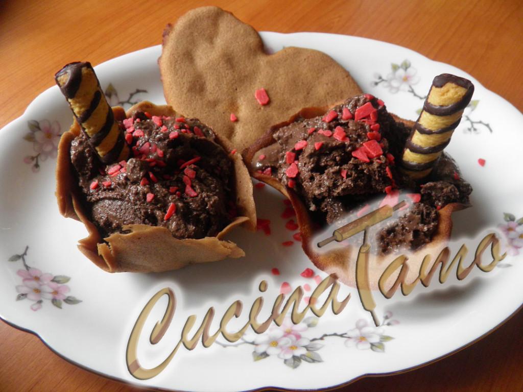 gelato al cioccolato in cialde fatto in casa